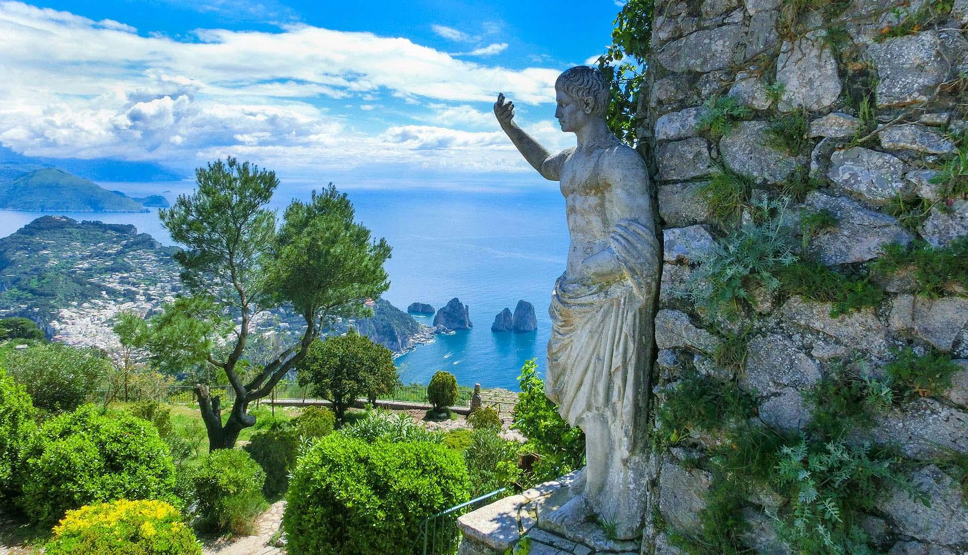 Statue by Italian Seaside
